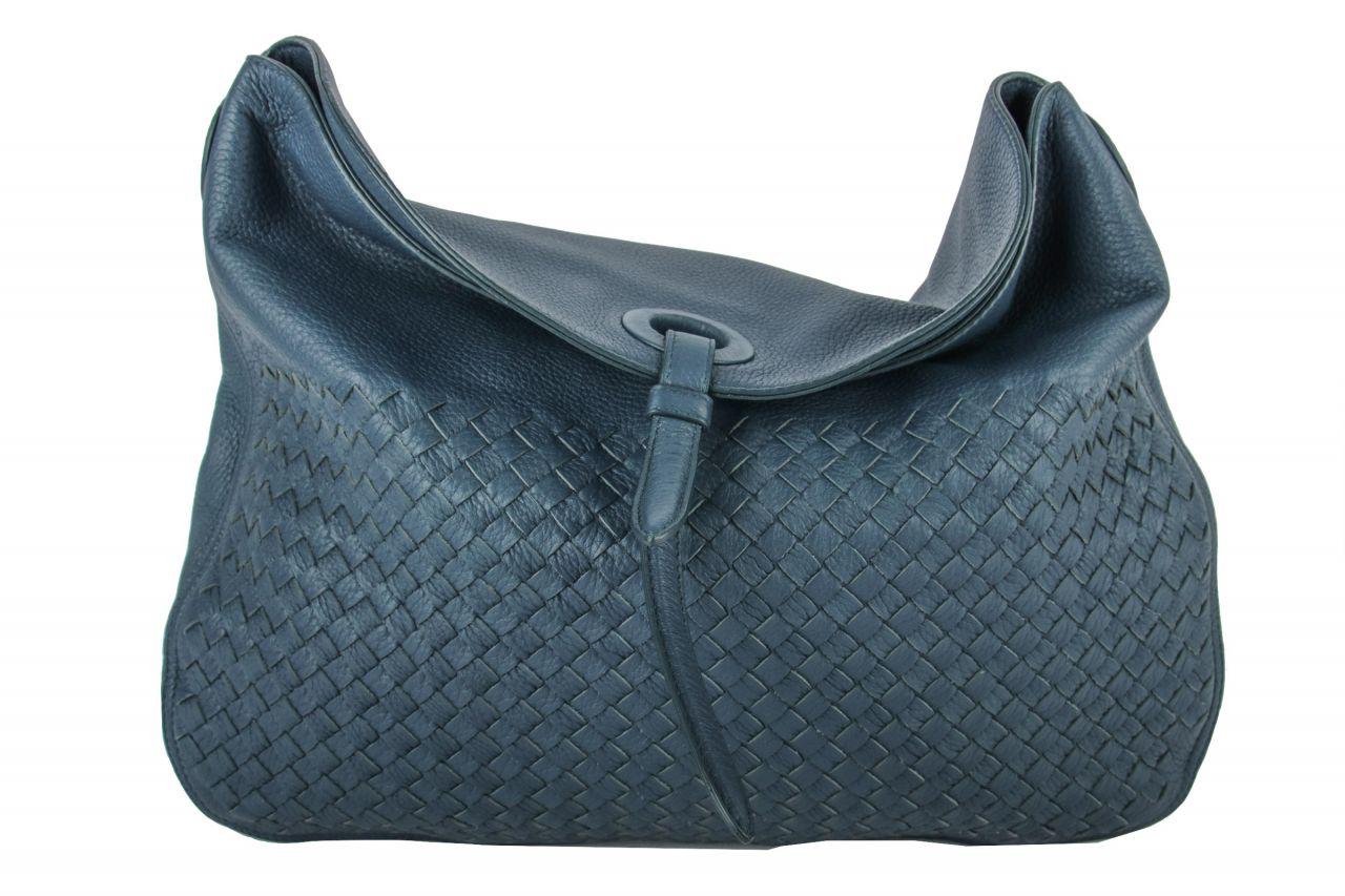 Bottega Veneta Intrecciato Shoulder Bag Blue