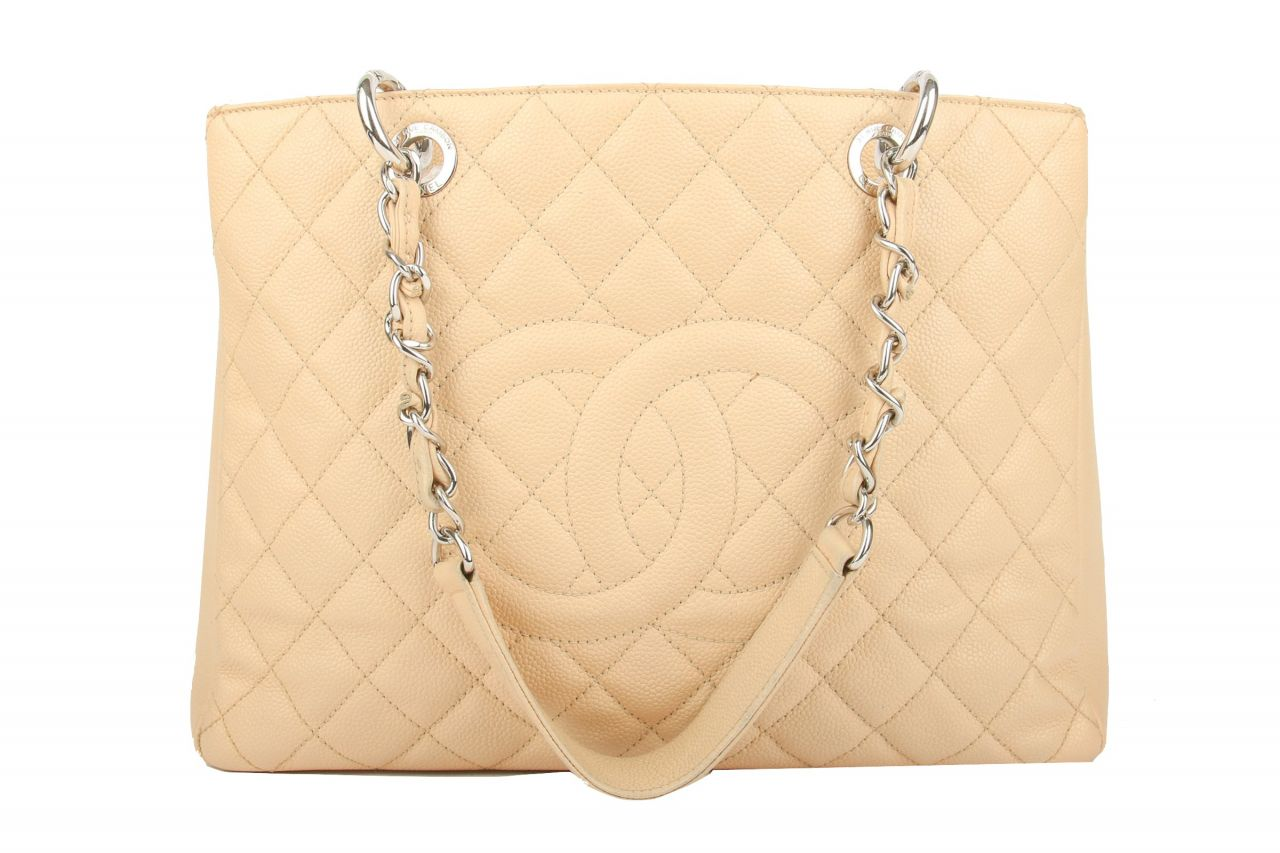 Chanel Grand Shopping Tote Kaviar Leather Beige