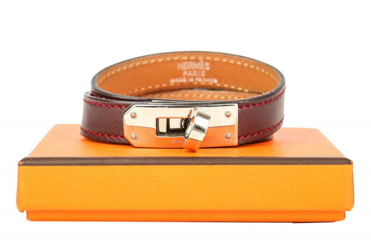 Hermès Kelly Double Tour Rouge Garance Leder Armband