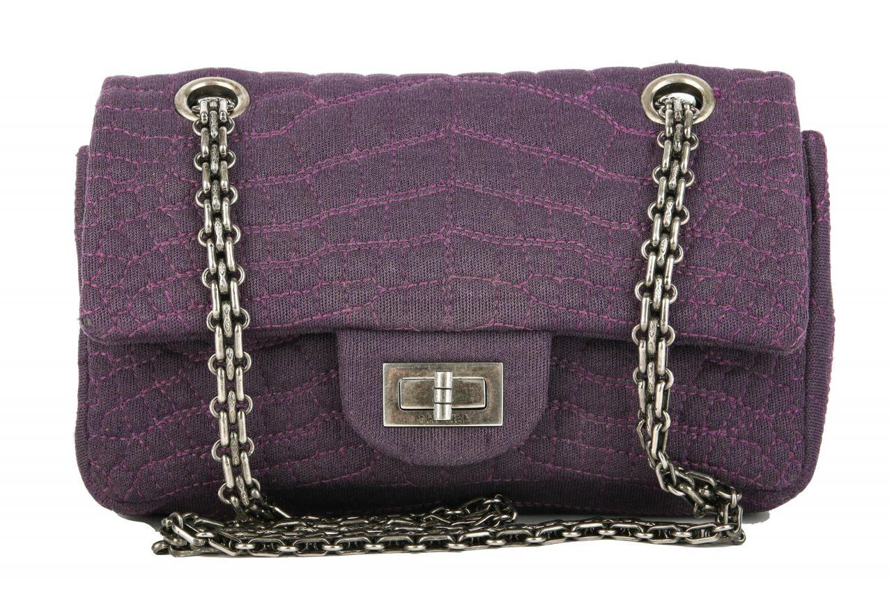 Chanel Small 2.55 Croc-Style Stitched Lila