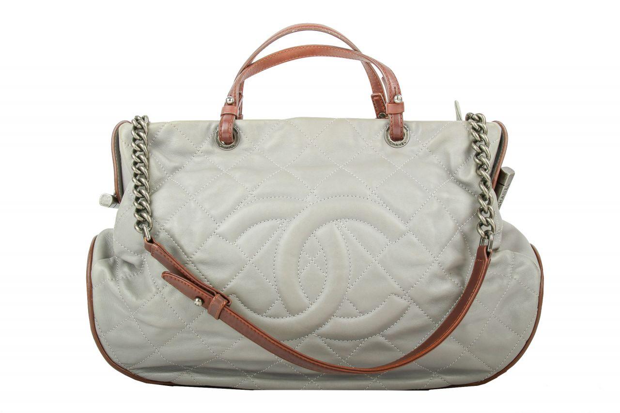 Chanel Shopper Grey Brown
