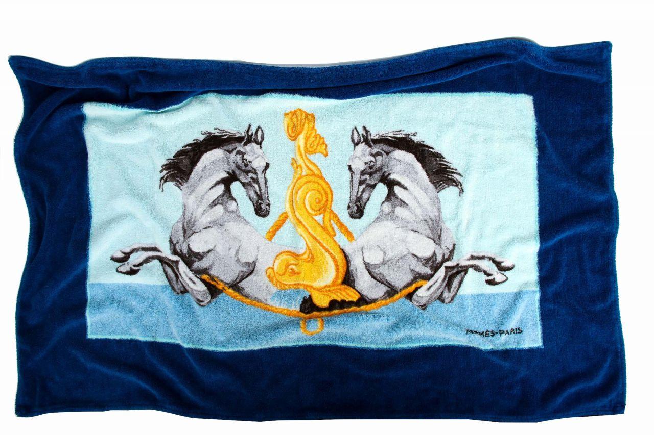 Hermès Badetuch mit Pferden aus Baumwolle