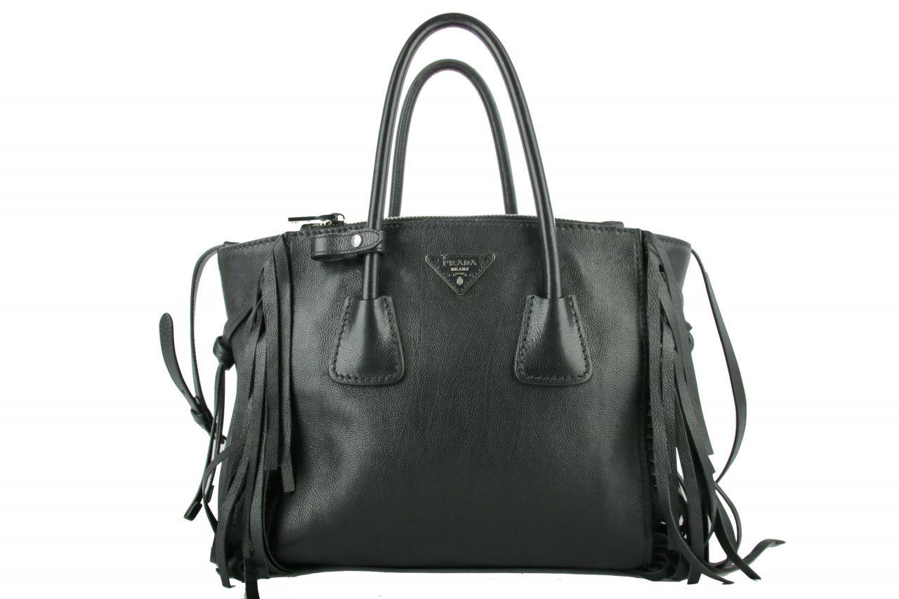 Prada Top Handle Bag Fringe Black