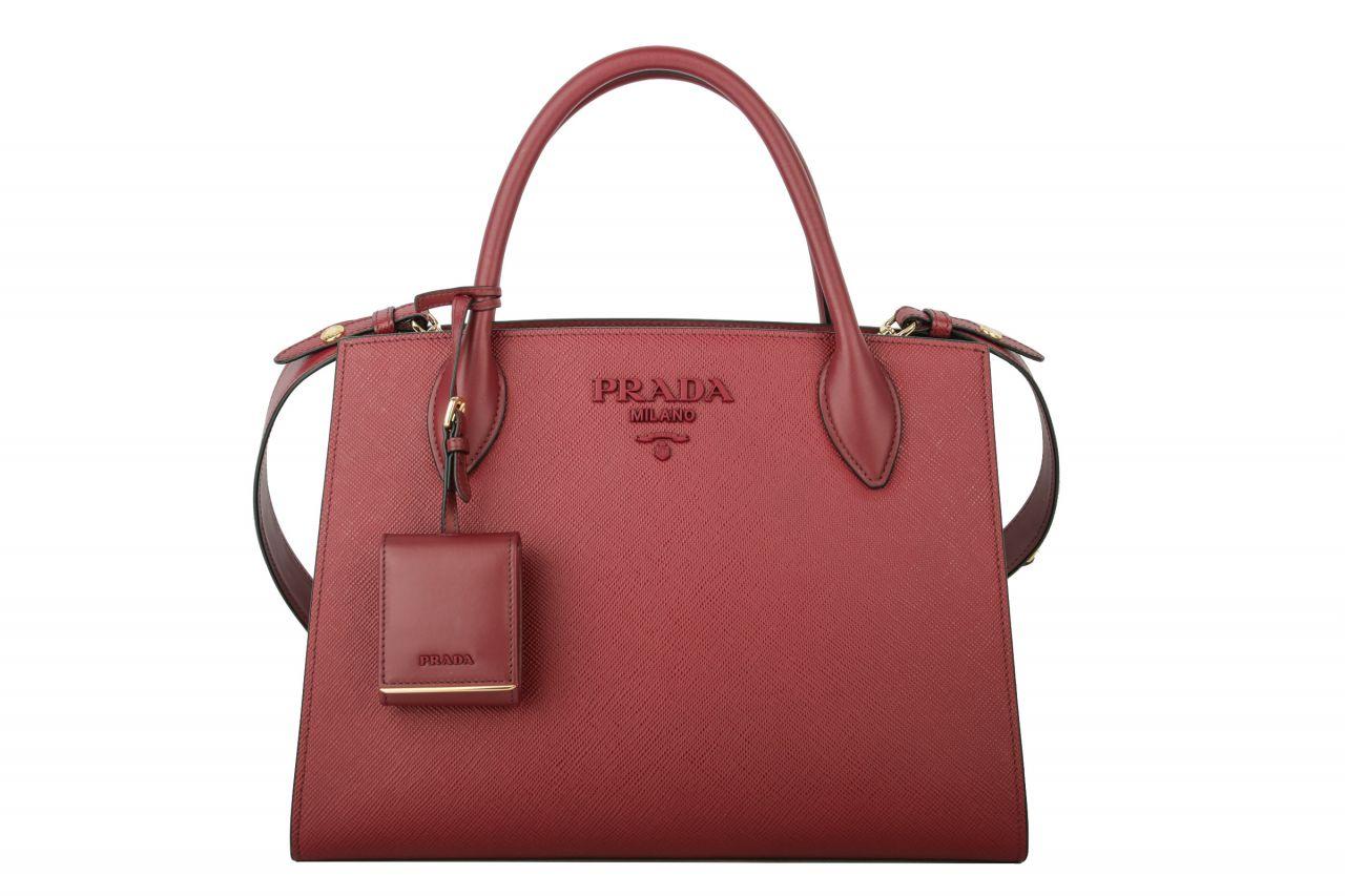 Prada Saffiano Cuir Double Bag Weinrot