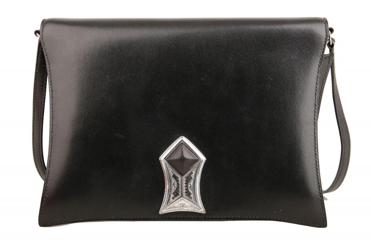 Hermès Vintage Schultertasche Schwarz Box Leder