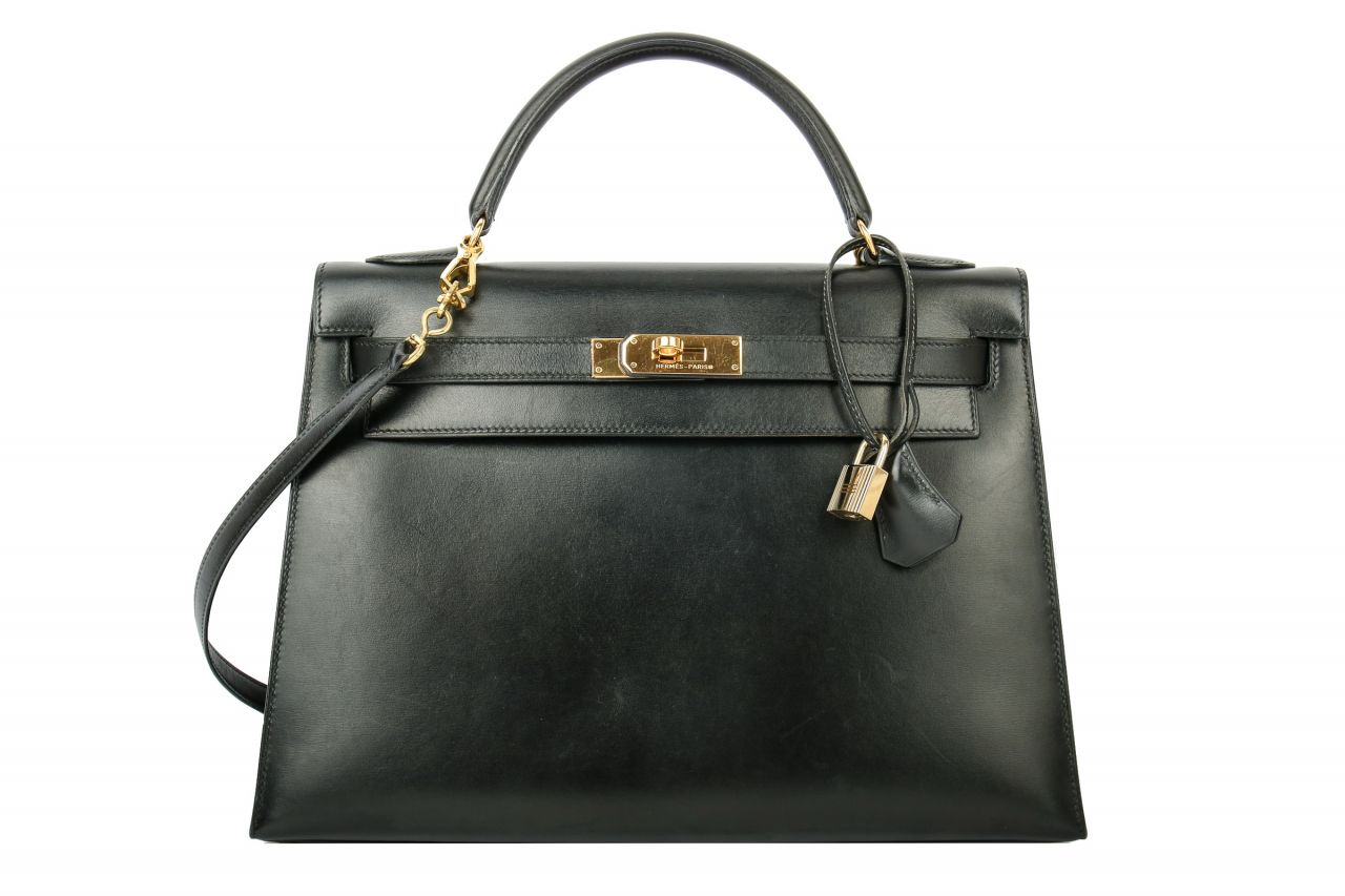 Hermès Kelly 32 Box Sellier Noir