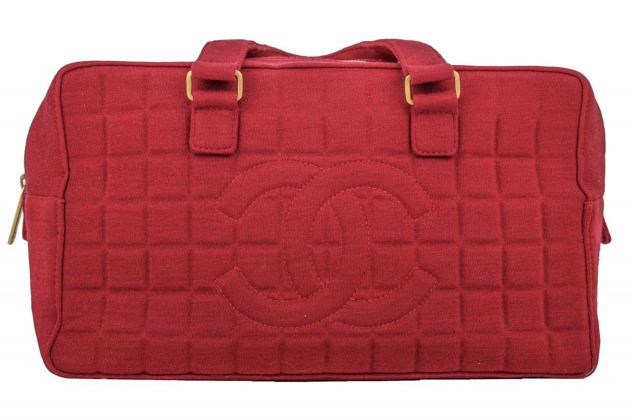 Chanel Bowling Bag Jersey Bordeaux Rot