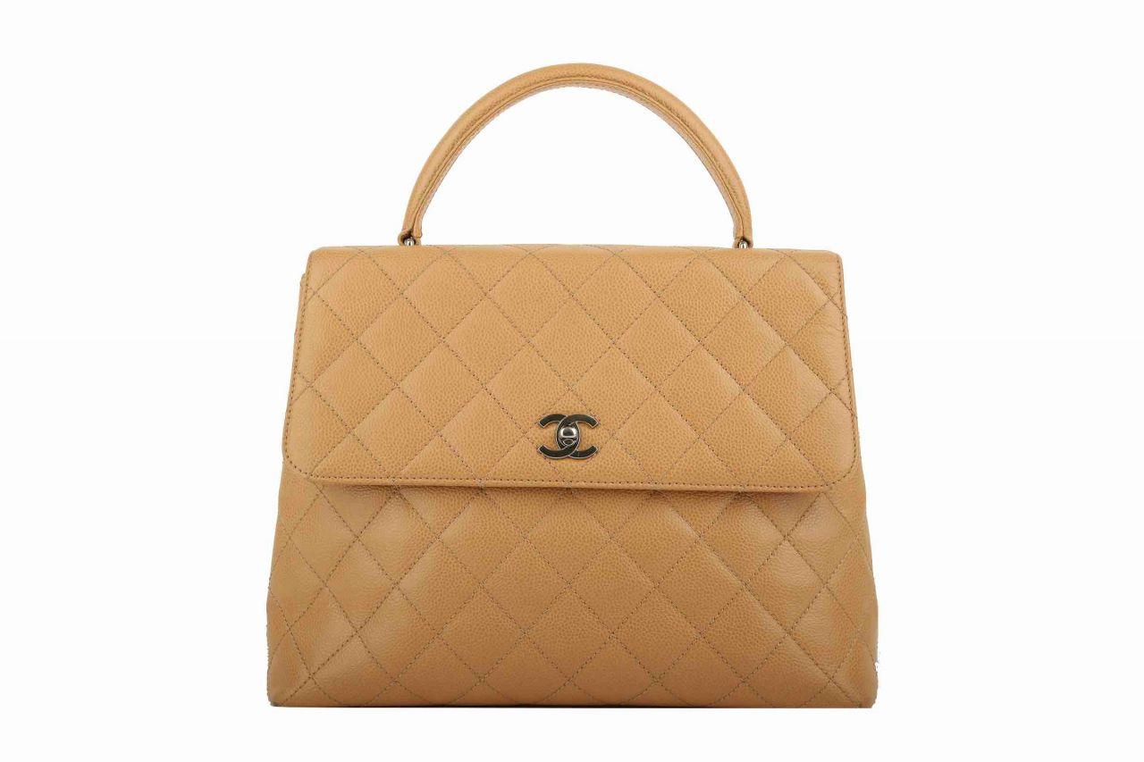Chanel Vintage Handtasche Beige Kaviar Leder