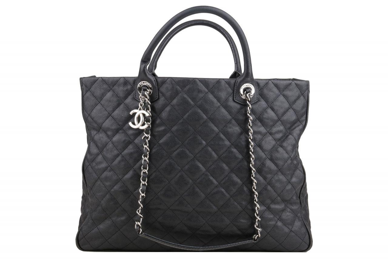 Chanel Kaviar Leather Shopper Schwarz