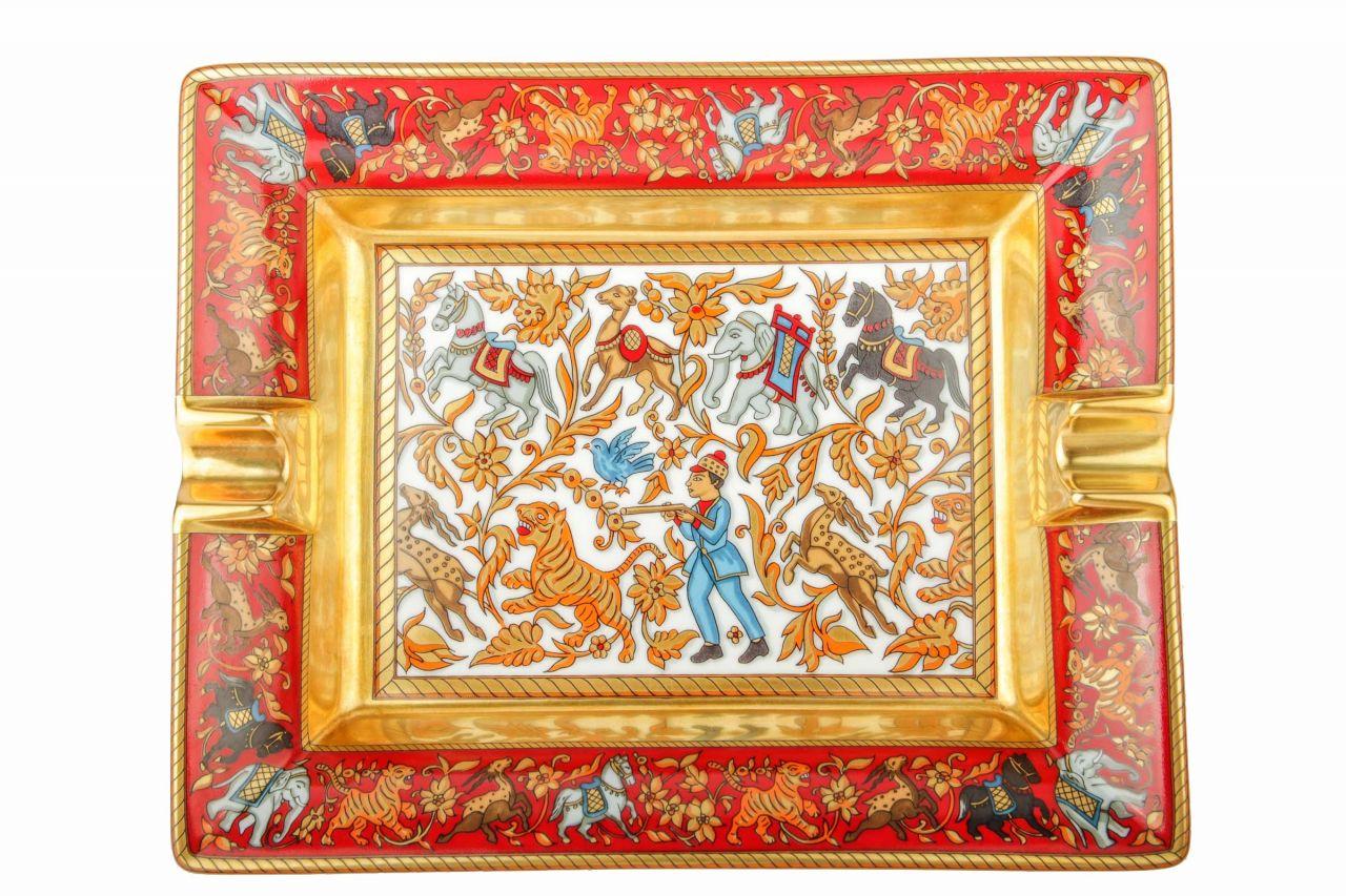 Hermès Aschenbecher Rot/Gold