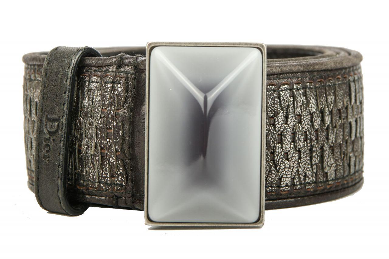 Dior Gürtel Metallic Braun / Grau