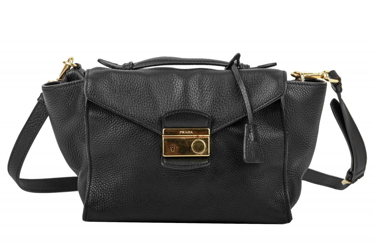 Prada Vitello Daino Flap Bag Black