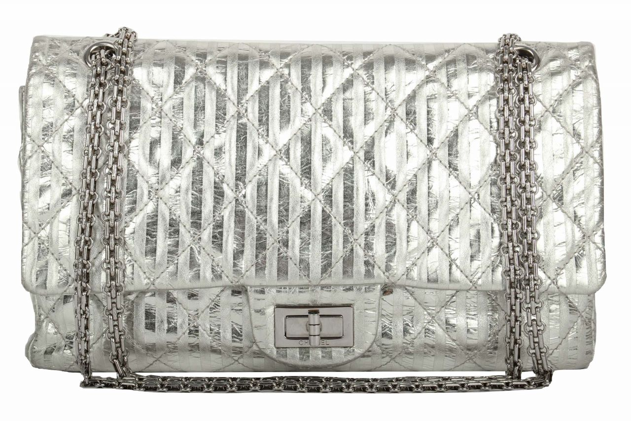Chanel 2.55 Large Silber