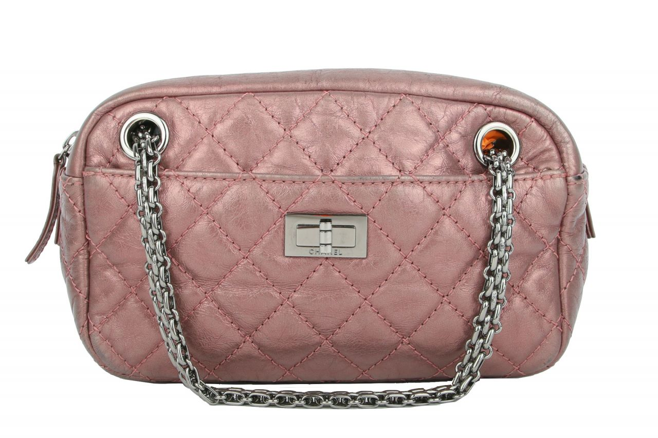 Chanel Metallic Aged Calfskin Quilted Small Reissure Camera Bag Pink