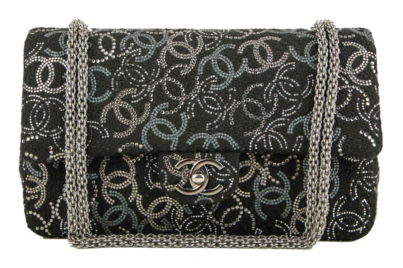 Chanel Double Flap Medium Silver CC