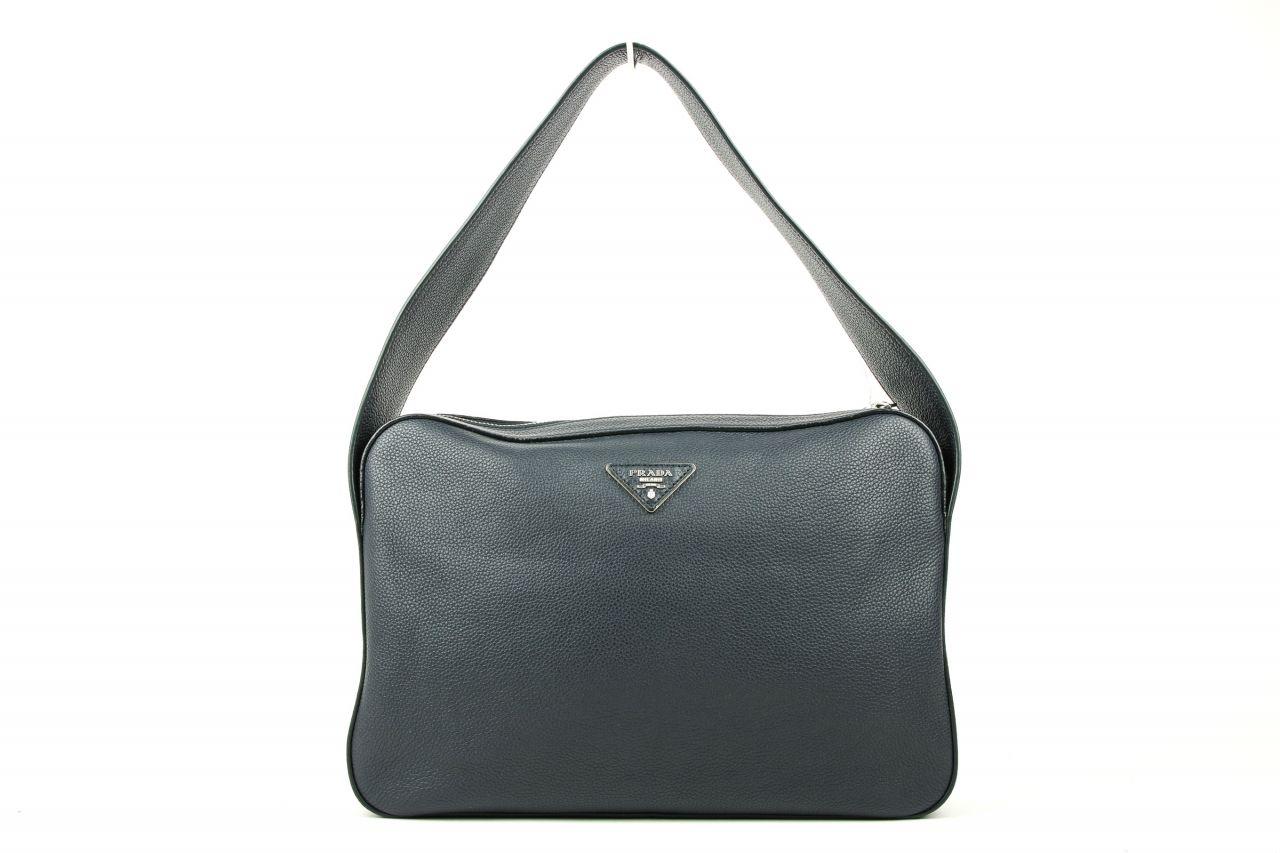 Prada Vitello Daino Shoulder Bag in Baltico Blue