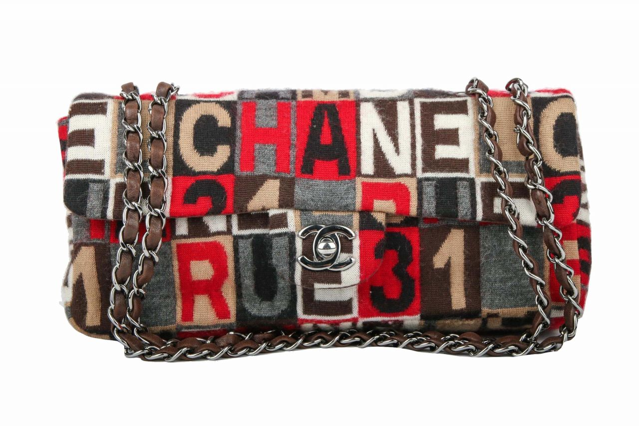 Chanel Wool Logo Flap Bag