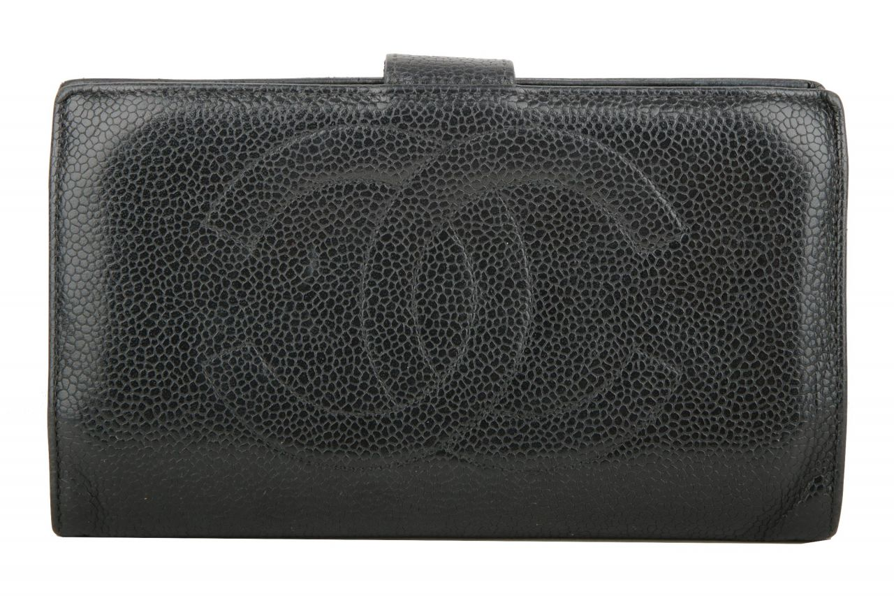 Chanel Portemonnaie Leder Schwarz