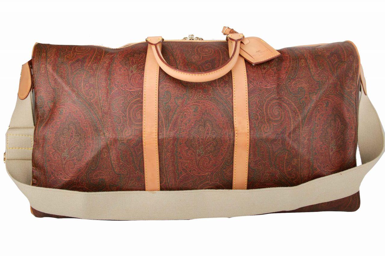 Etro Boston Bag 60 Paisley Braun mit Schulterriemen