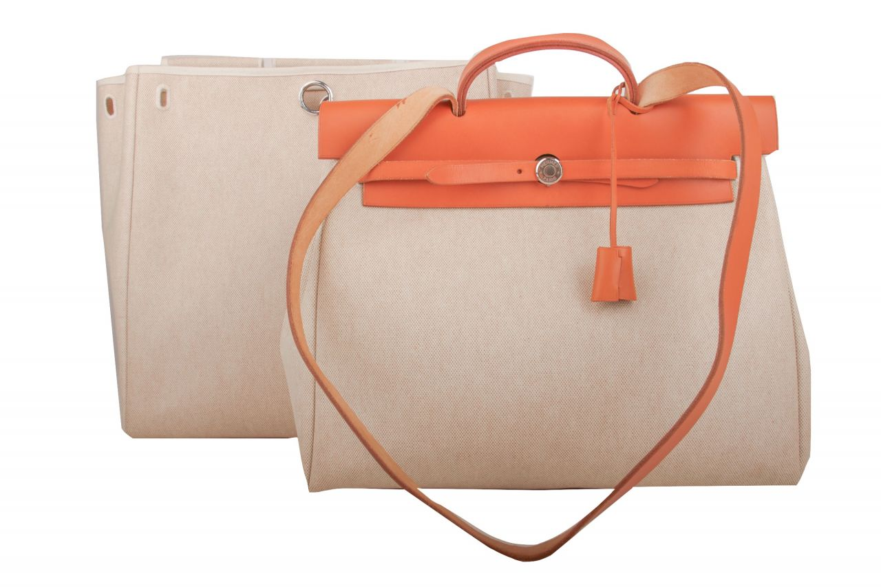 Hermès Herbag Leinen Handtasche Beige