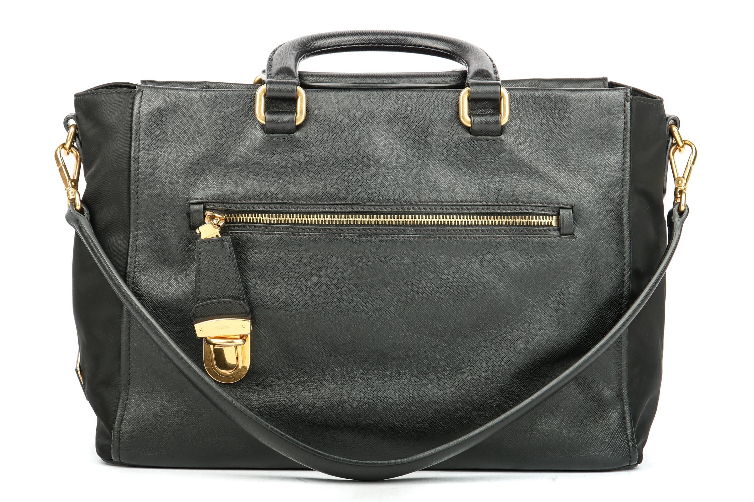 6f2ff7702672 ... best price prada shoulder bag tessuto saffiano mix black luxussachen  42761 8660d ...