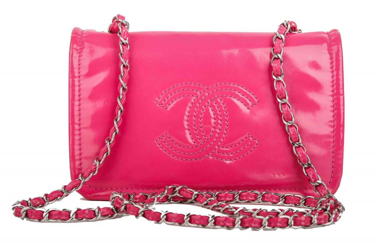 Chanel Handtasche Lackleder Pink