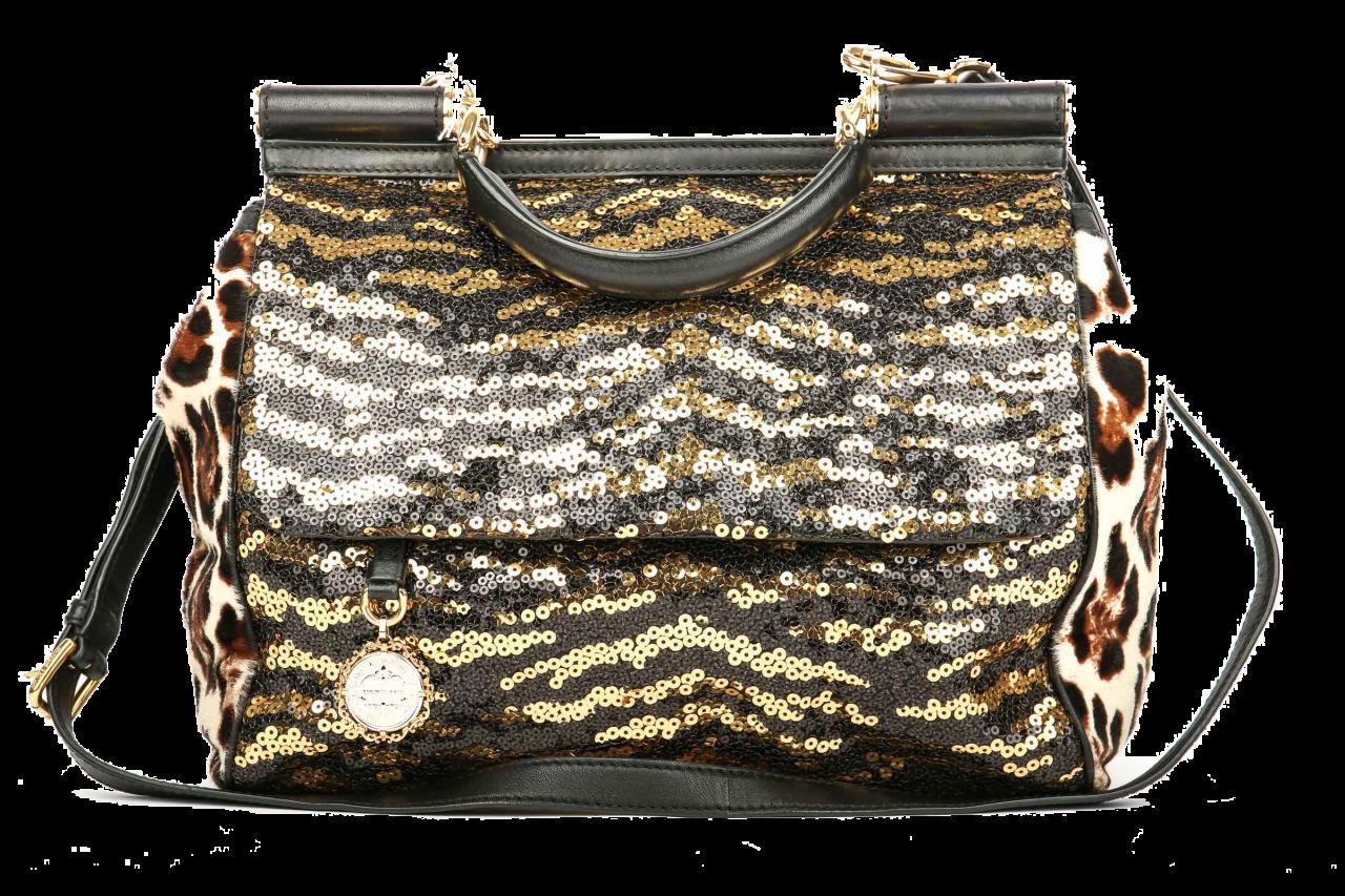 Dolce & Gabbana Miss Sicily Tiger Sequin Satchel Bag