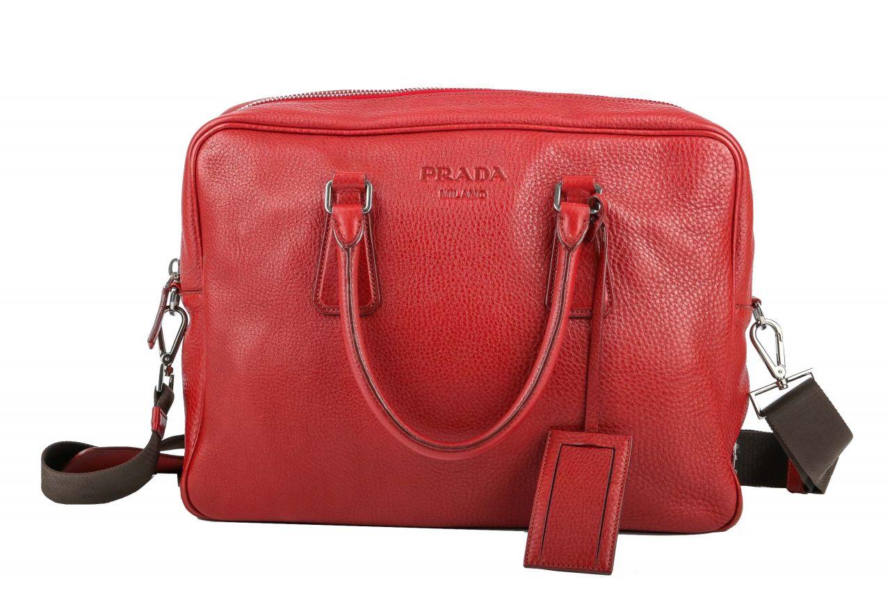 Prada Vitello Daino Shopper Red