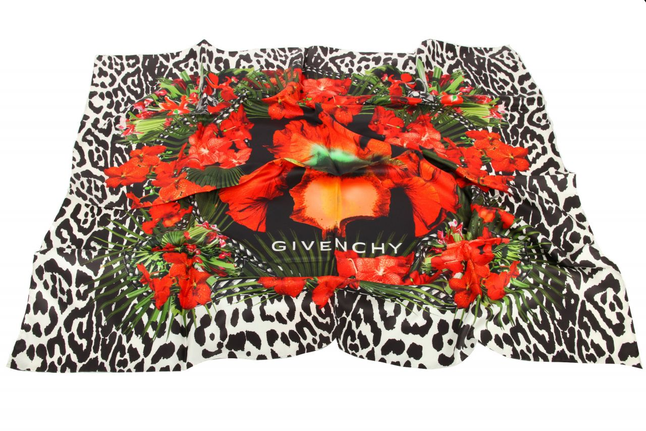 Givenchy Silk Scarf Black Red