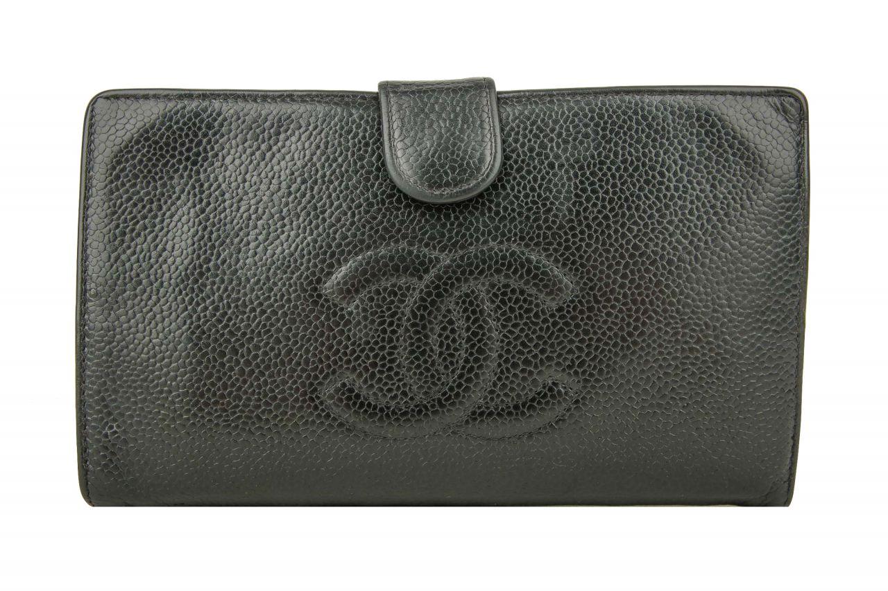 Chanel Portemonnaie Kaviarleder Schwarz