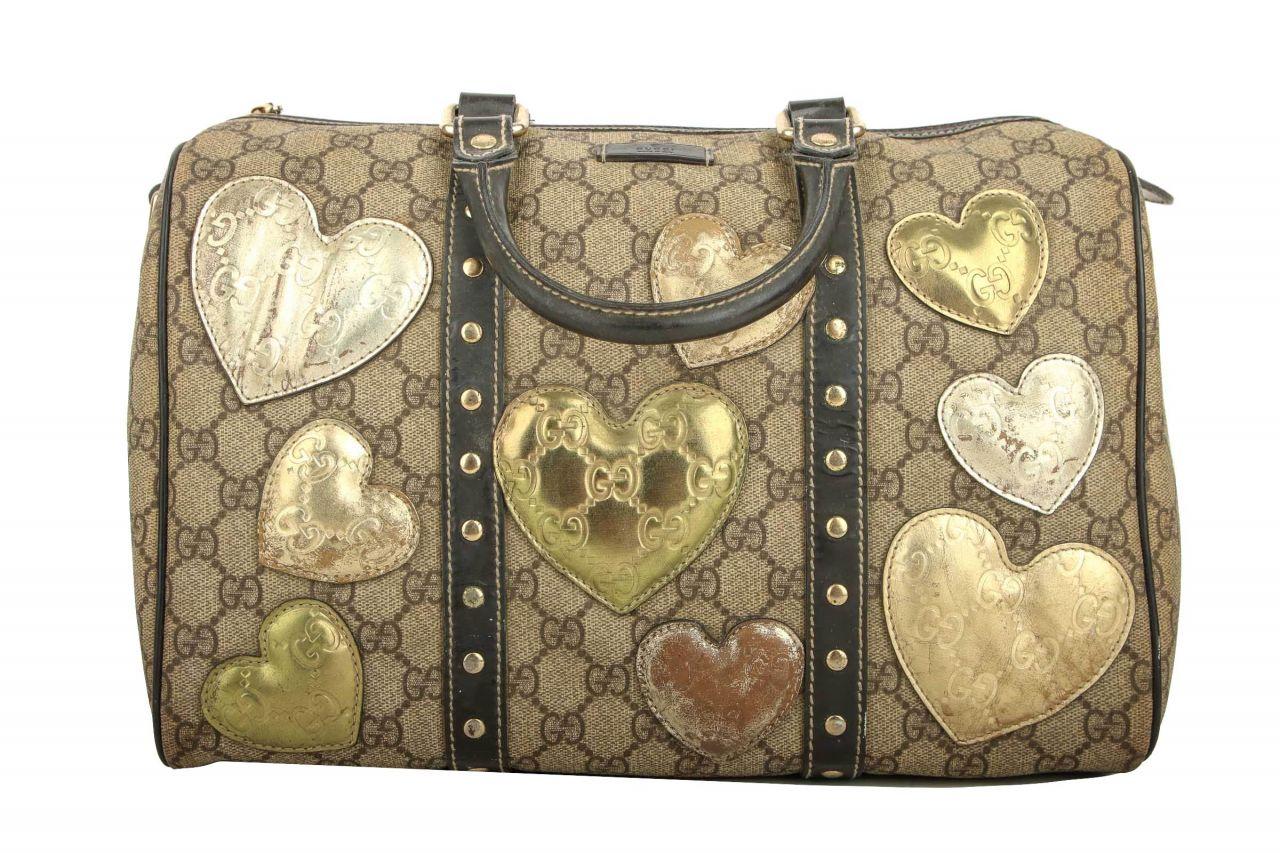 Gucci Hearts Joy Boston Bag GG Canvas