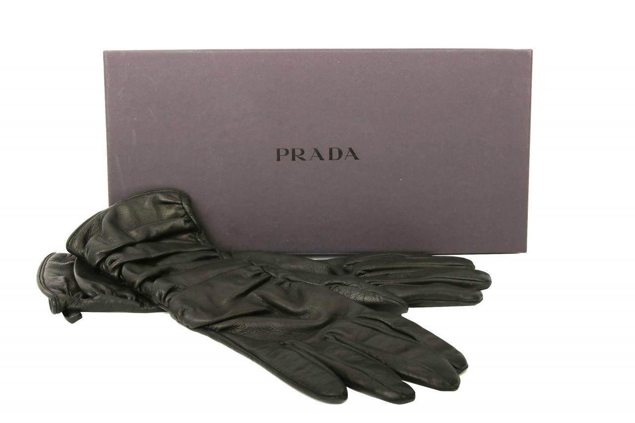 Prada Leder Handschuhe Schwarz