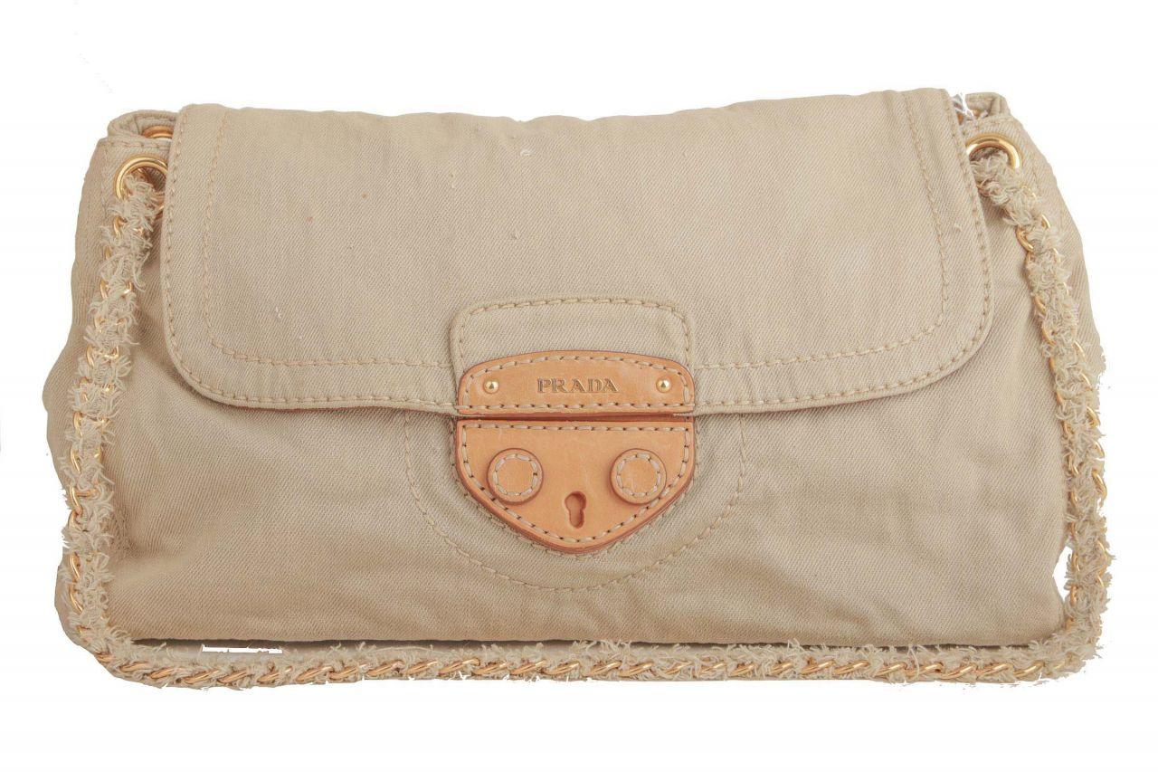 Prada Shoulder Bag Denim Beige