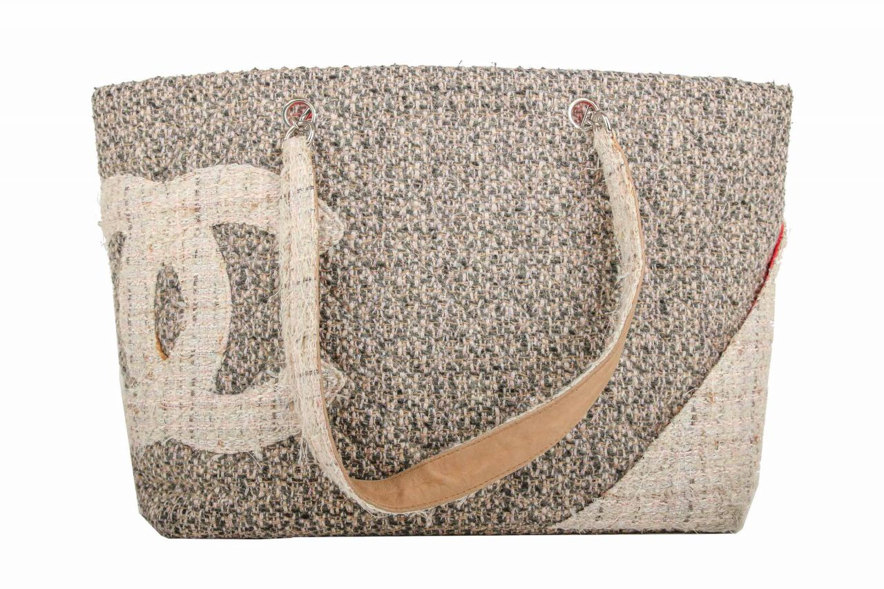 Chanel Ligne Cambon Tweed Tote Bag Beige