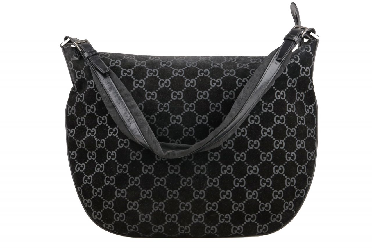 Gucci Suede Hobo Bag GG Black
