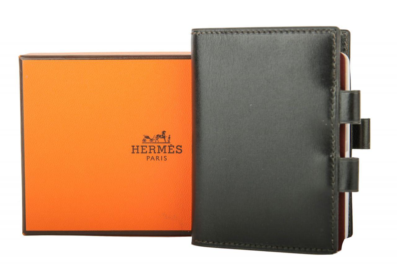 Hermès Adressbuch aus Leder in schwarz