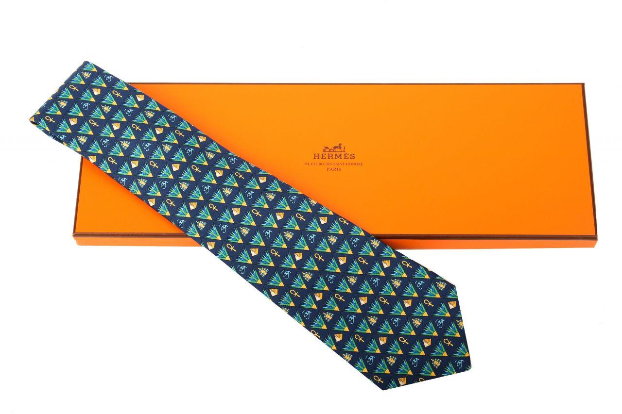 Hermès Krawatte Pyramide Blau Grün Gemustert