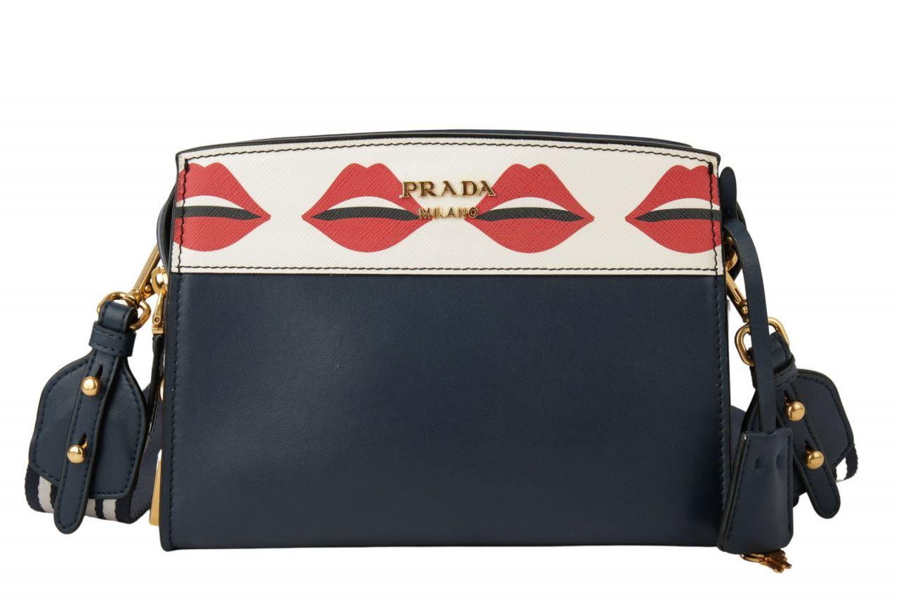 Prada Crossbodybag mit Lippenprint Blau