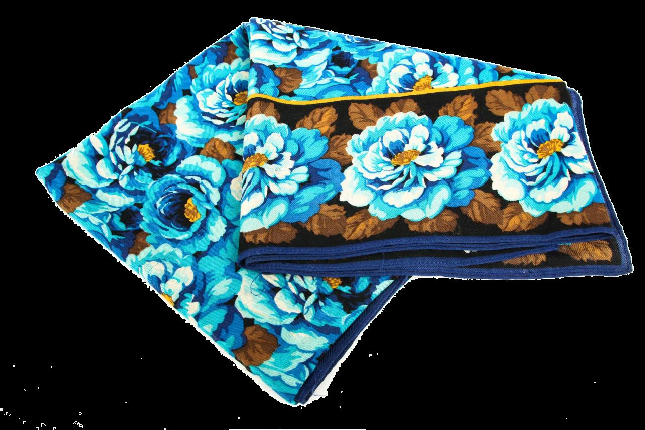 Kenzo Tuch mit Blumenmuster Türkis/Blau