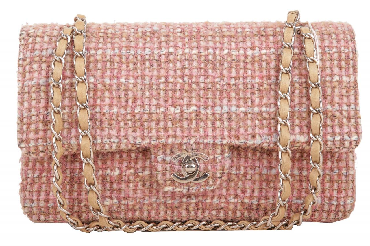 Chanel Timeless Double Flap Bag Tweed Rosé
