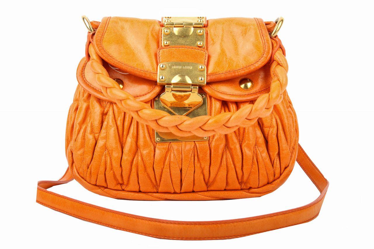 Miu Miu Handtasche Orange Metallasse