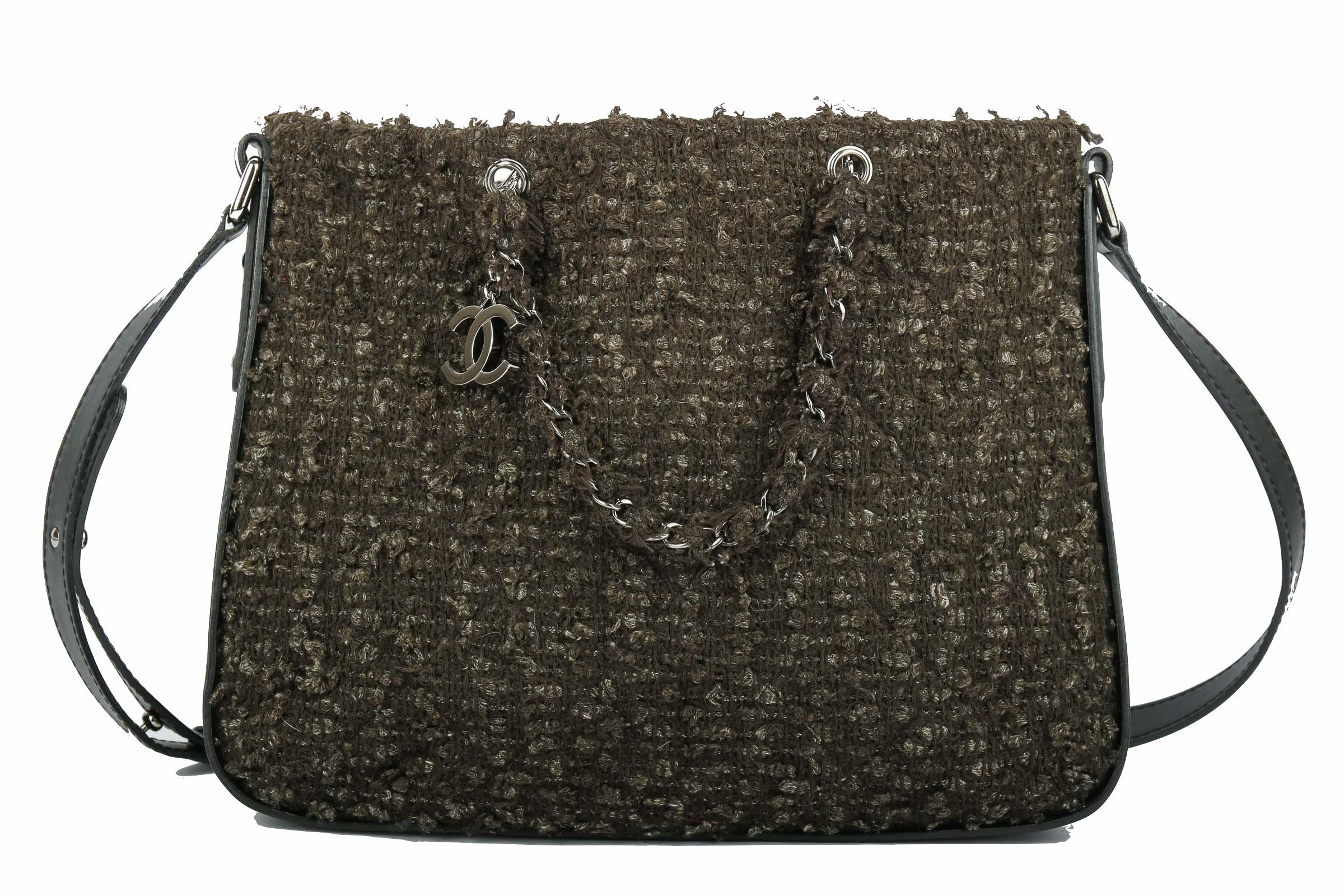 270cecc062eaf Chanel Tweed Messenger Bag Schwarz
