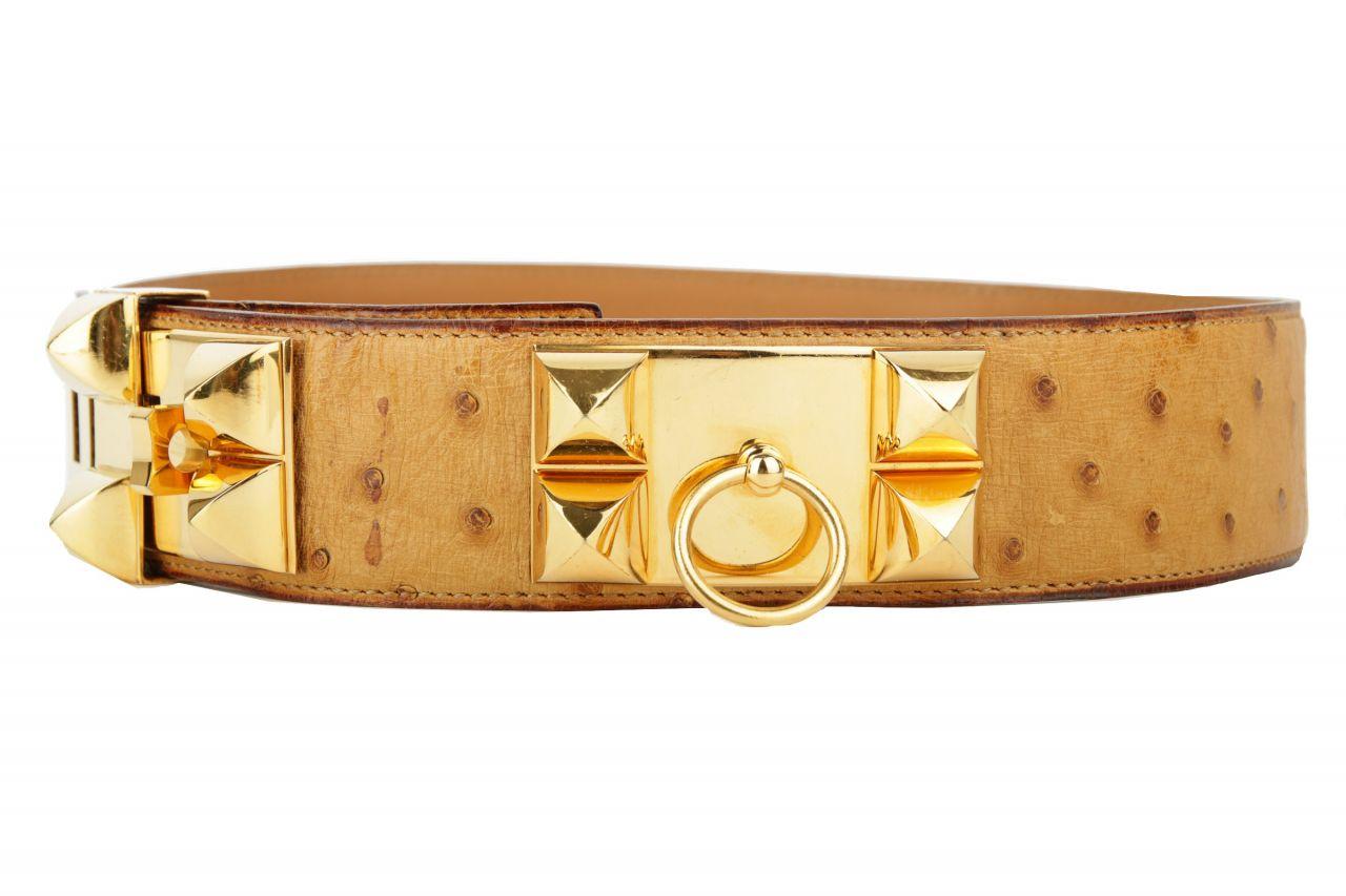 Hermès Gürtel Collier de Chien Braun