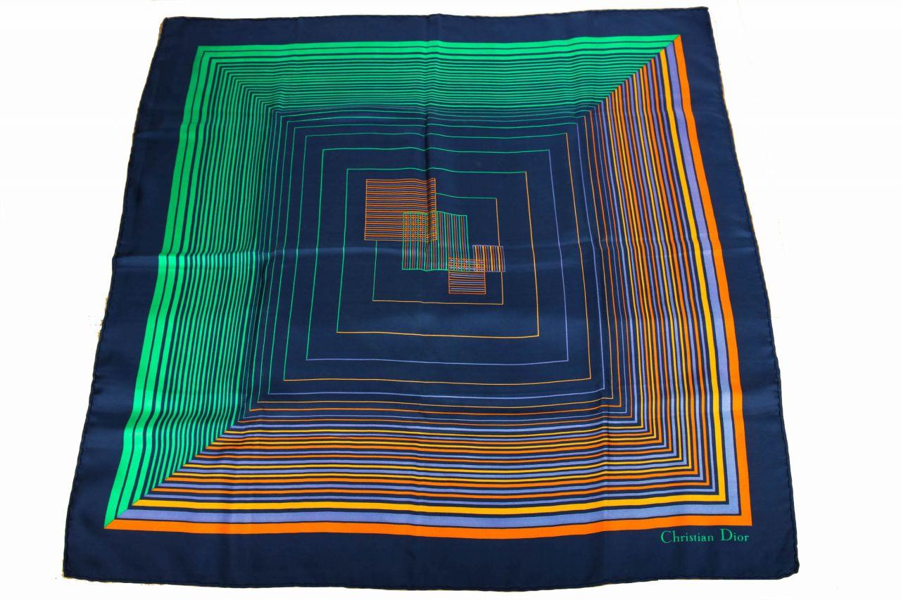 Dior Seidentuch Blau/Grün/Orange 80x80cm