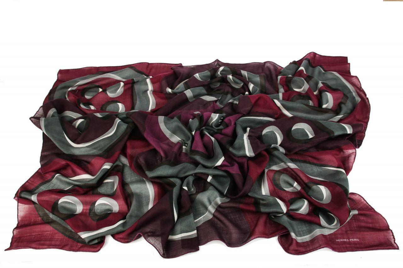Hermès Cashmere Carré Bordeaux/Grau 140x140cm