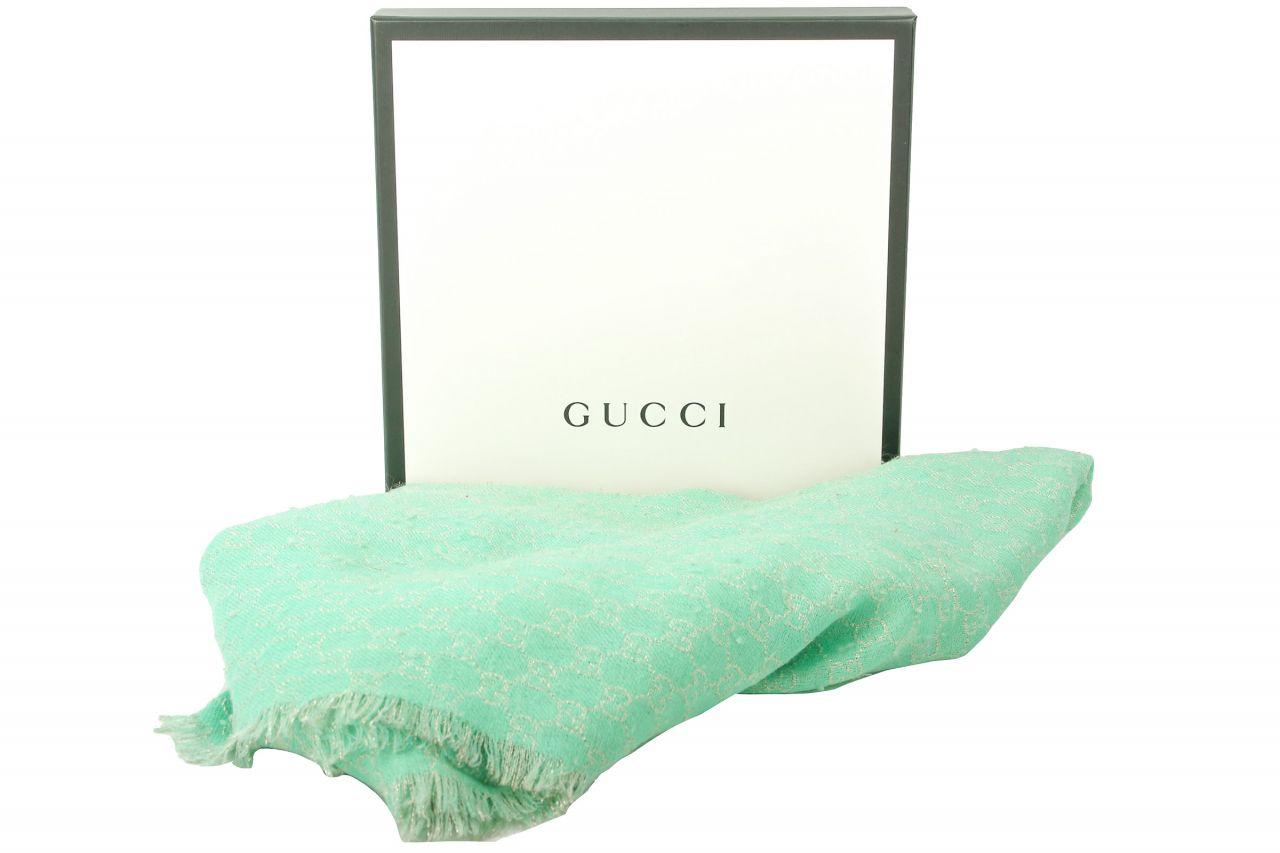 Gucci Schal GG Mintgrün mit Glitzer