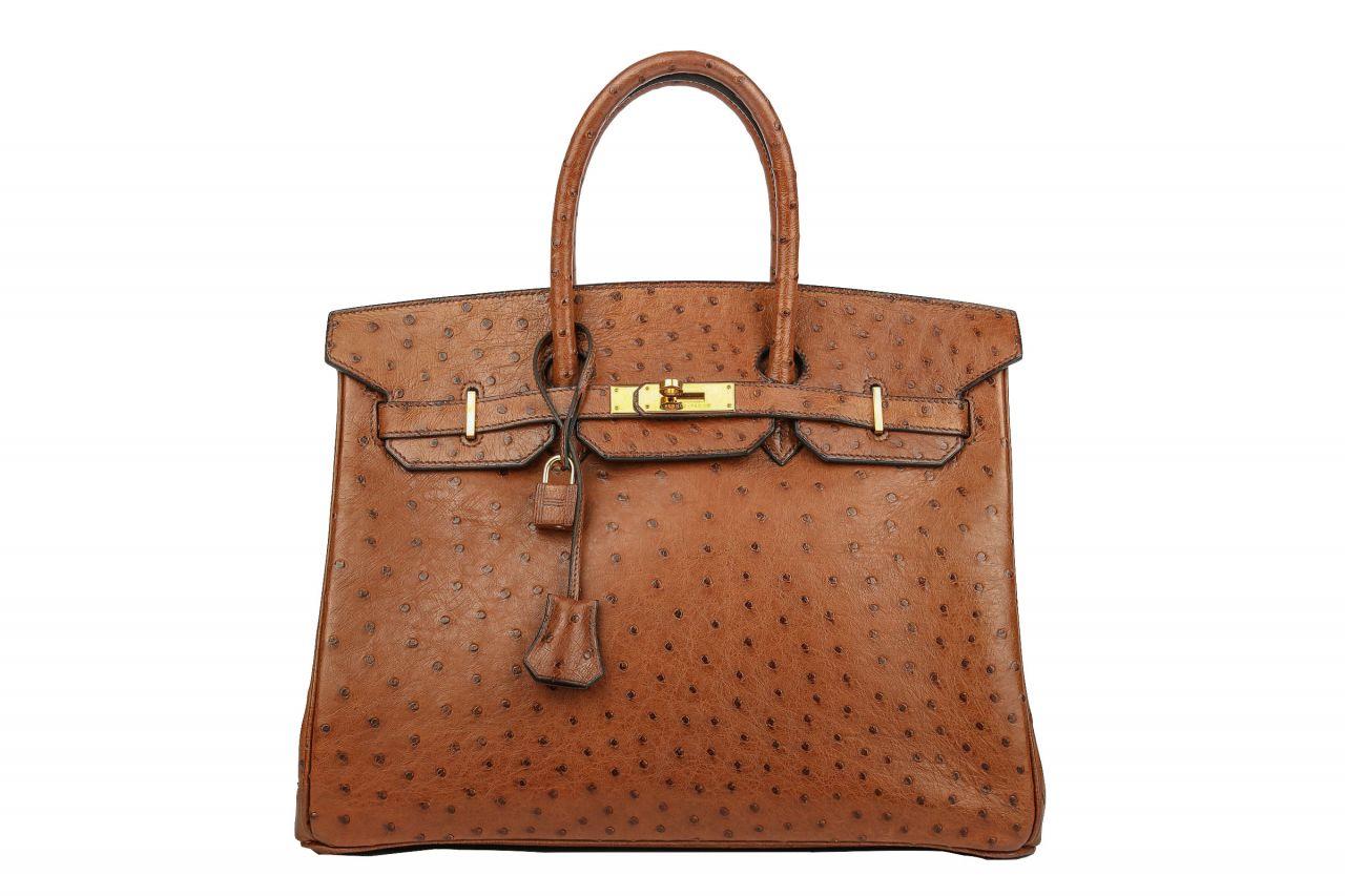 Hermès Birkin 35 Braun Straußenleder