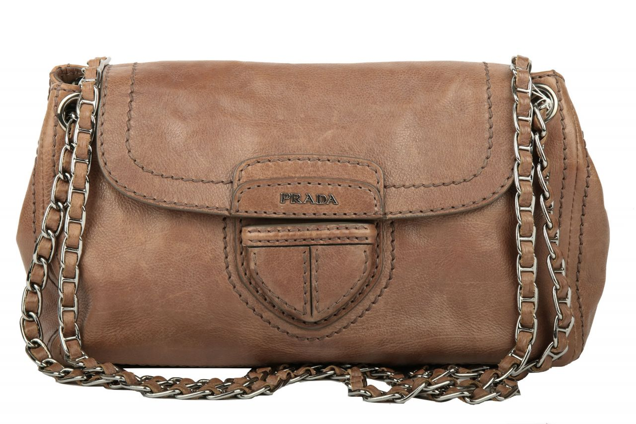 Prada Leather Flap Chain Shoulder Bag Braun