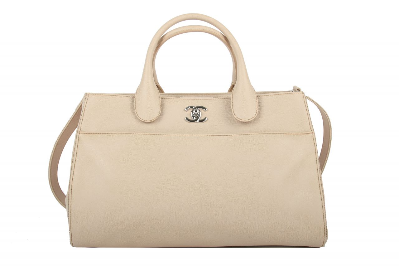 Chanel Shopper Beige Kaviar Leather
