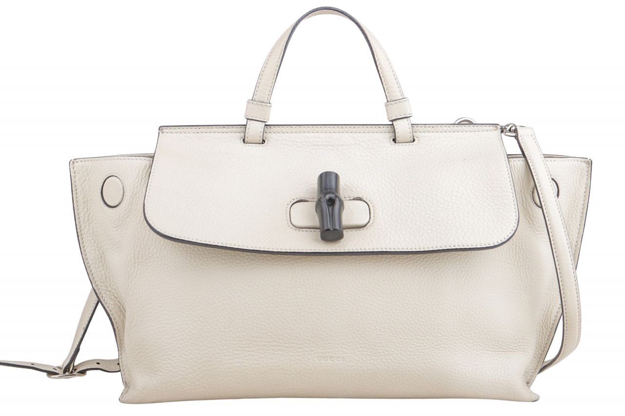 Gucci Bamboo Daily Medium Top-Handle Leder Tasche Creme